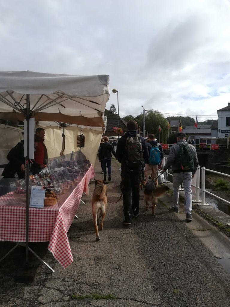 honden training op de markt
